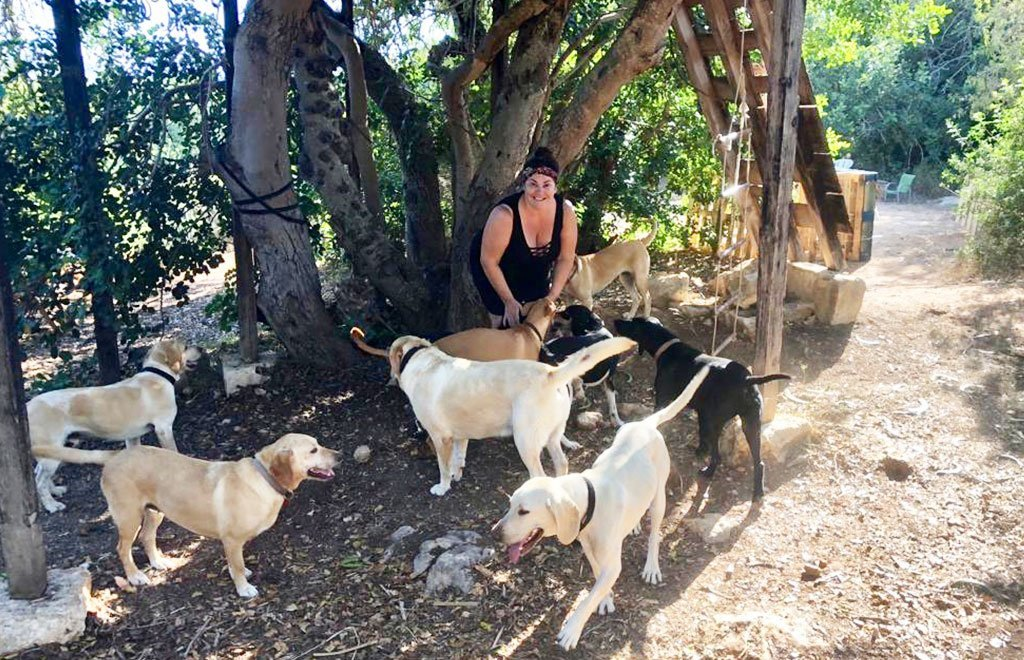 Gloria Camilleri with her dogs