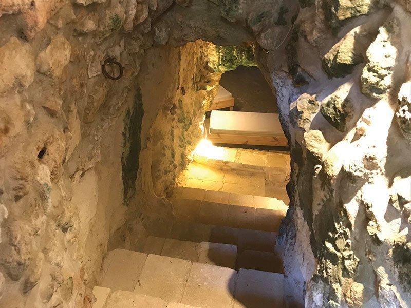 Cave steps at L'Gharix Temple Retreat, Gozo