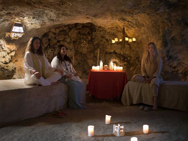 Group guided meditation in L'Gharix's private cave Gozo