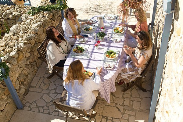 Ladies lunch during workshop at L'Gharix Retreat Gozo Malta
