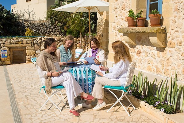 Ladies group retreat at L'Gharix Temple Retreat, Gozo, Malta