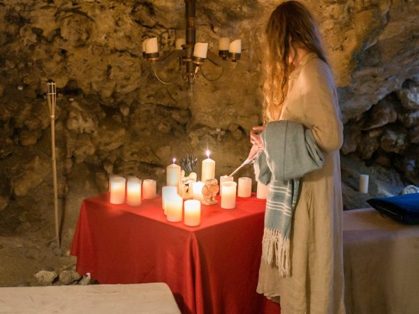 Guided meditation in a private cave, L'Gharix Temple Retreat, Gozo