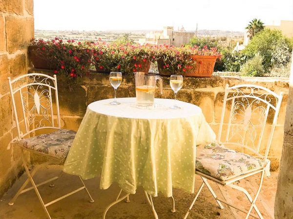 Private rose room balcony with sea views, accommodation Xaghra, Gozo