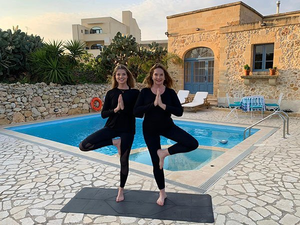 Yoga with certified instructor at meditation retreat, L'Gharix, Gozo