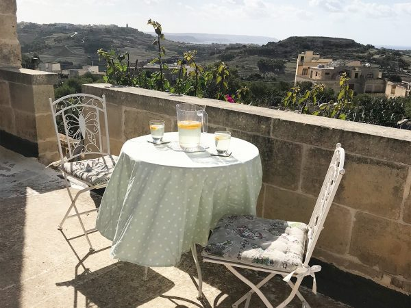 Orchid Bedroom with balcony and private entrance, sea views - retreat accommodation, Gozo & Malta