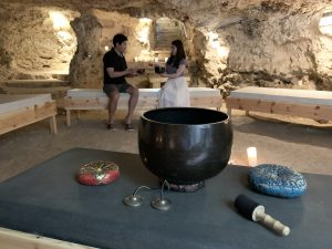 Group workshop in the private cave at L'Gharix Temple Retreat, Gozo, Malta